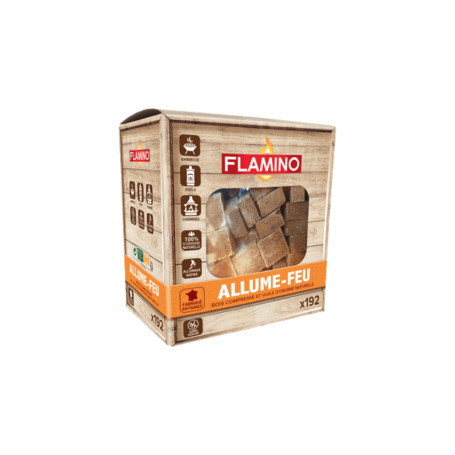 Allume feux cubes de bois FLAMINO x192