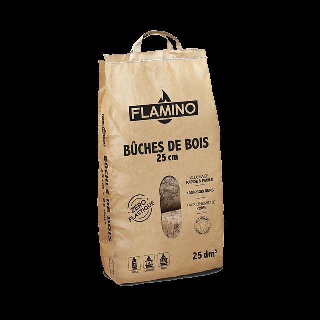 Buches de bois 25cm sac kraft FLAMINO